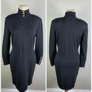 St John Collection Marie Gray Wool Knit Dress